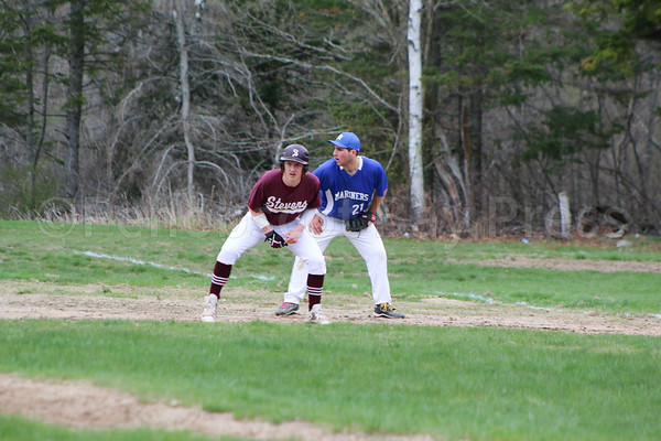 sports; GSA; DISHS; baseball; Slayton; Snow; 051117; Eagles; George Stevens Academy; game; high school; school; sport; team Beckett Slayton gets a short jump off first base, in front of Toby Snow. Photo by Monique Labbe