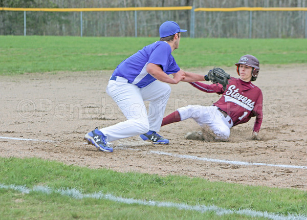 sports; GSA; DISHS; baseball; Norton; 051117; Eagles; George Stevens Academy; game; high school; school; sport; team Nick Norton slides safely into third base. Photo by Monique Labbe