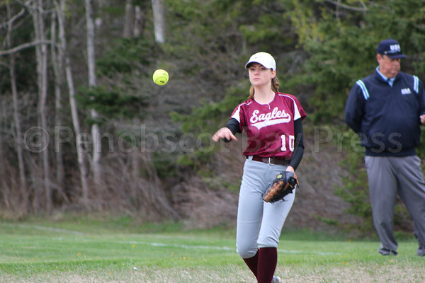 SPORTS; GSA; DISHS; softball; Peasley; 051117 Hannah Peasley makes a throw for an out at first base. Photo by Monique Labbe