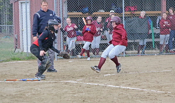 sports; GSA; ball; Central; Emma; Weed; score; 051817; Eagles; George Stevens Academy; baseball; game; high school; school; sport; team Eagles senior Emma Weed begins to slide home as GSA puts a run on the scoreboard against Central. Photo by Anne Berleant