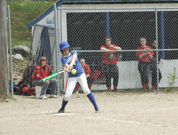 sports; DIS; softball; katie; tags; 0518178; Deer IsleStonington High School; Mariners; dishs; game; high school; school; team Katie Hutchinson tags a hit against Katahdin. Photo by Jack Scott