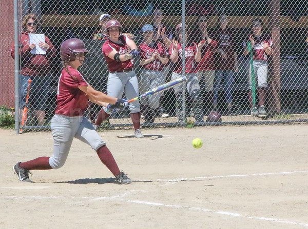 sports; GSA; softball; Dexter; danielle; bainco; 052517; Eagles; George Stevens Academy; game; high school; school; sport; team Danielle Bianco hits a grounder against Dexter on May 20. Photo by Anne Berleant