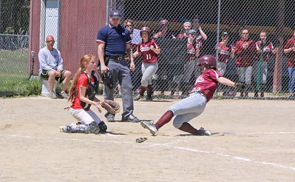 sports; GSA; softball; Dexter; slide; two; 052517; Eagles; George Stevens Academy; game; high school; school; sport; team Cassidy Bulleman slides into home to score for the Eagles against Dexter on May 20. Photo by Anne Berleant