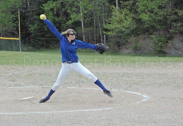 sports; DIS; softball; Schenck; lily; 052517; Deer IsleStonington High School; Mariners; dishs; game; high school; school; team Lily Gray winds up a pitch against Schenck. Photo by Jack Scott