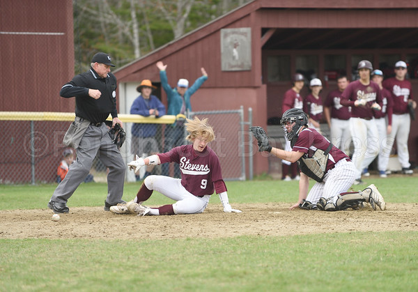 sports; GSA; baseball; Orono; BeckettSlayton; 050417; Eagles; George Stevens Academy; game; high school; school; sport; team Beckett Slayton is almost called out but the umpire calls him safe bringing the score to 4 for GSA while Orono is still at 7 in the 4th inning.  Photo by Franklin Brown