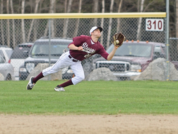 sports; GSA; baseball; Orono; TylerMcKenney; 050417; Eagles; George Stevens Academy; game; high school; school; sport; team Tyler McKenney catches but then drops the ball after Orono bats in the 5th inning.  Score is GSA 7 Orono 6.  Photo by Franklin Brown