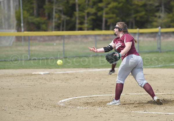 sports; GSA; softball; Orono; Mallory; Charette; 050417; Eagles; George Stevens Academy; game; high school; school; sport; team Mallory Charette pitches for GSA to try to out Orono.  Photo by Franklin Brown