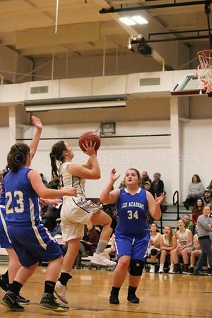 Eagles; GSA; George Stevens Academy; basketball; game; girls; high school; school; sport; sports; team Sophomore Saylor Grant takes her shot. By Anne Berleant