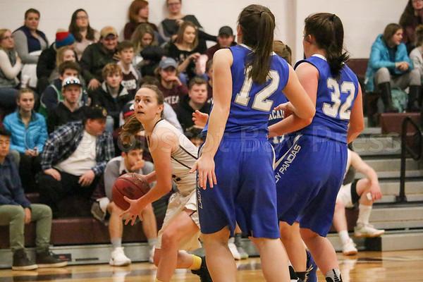GSA; George Stevens Academy; basketball; game; girls; high school; school; sport; sports; team Sophomore Vanessa Sherwood looks for an opening. By Anne Berleant